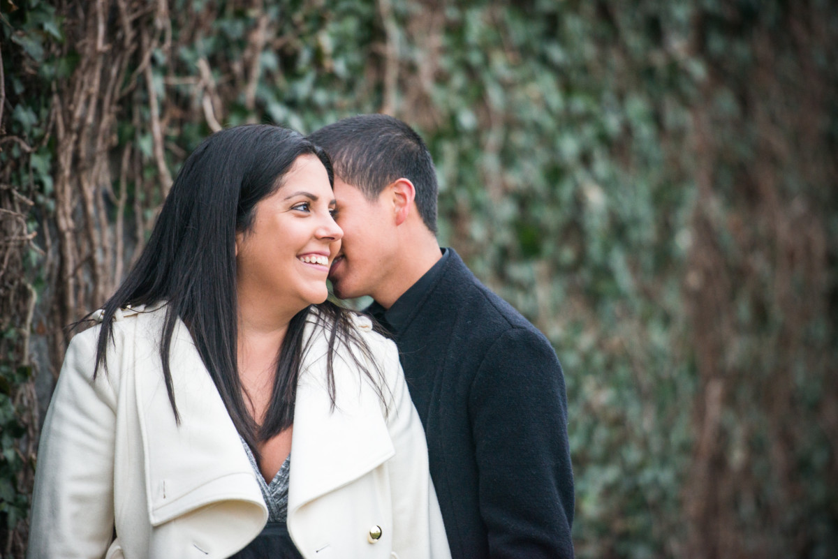 Downtown Providence Engagement - Couple by ivy covered wall