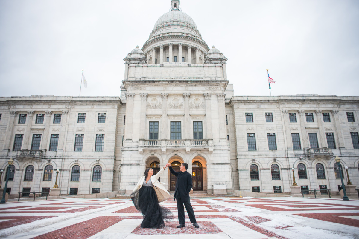 Downtown Providence Engagement - Couple dancing on the statehouse terrace