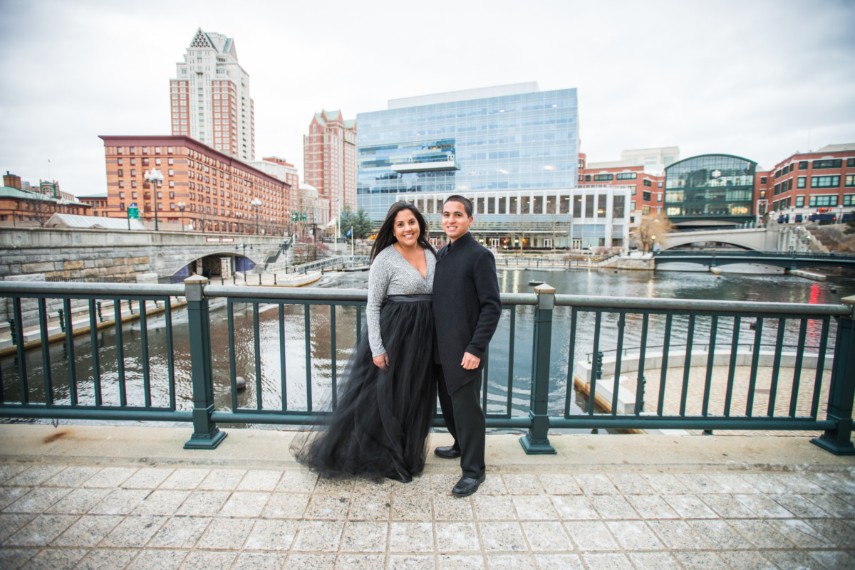 Downtown Providence Engagement - Couple overlooking the city