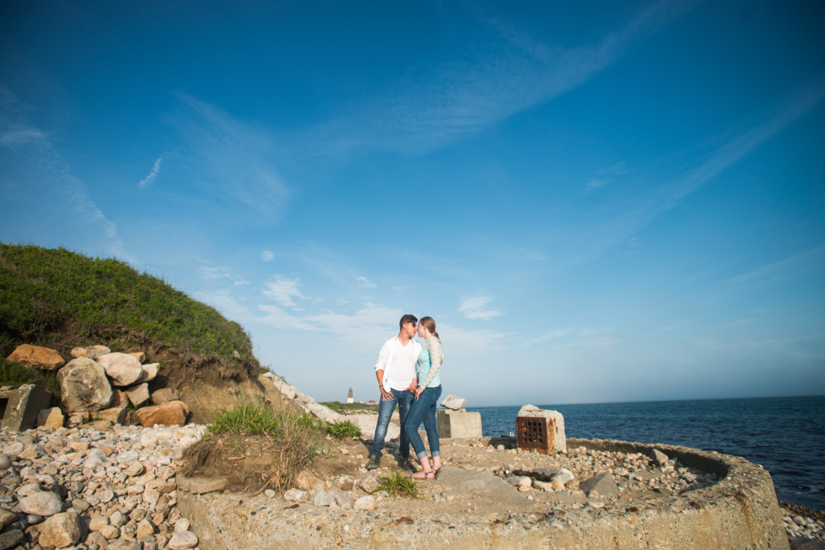 Heather and Mark | Point Judith Lighthouse Engagement | Blueflash