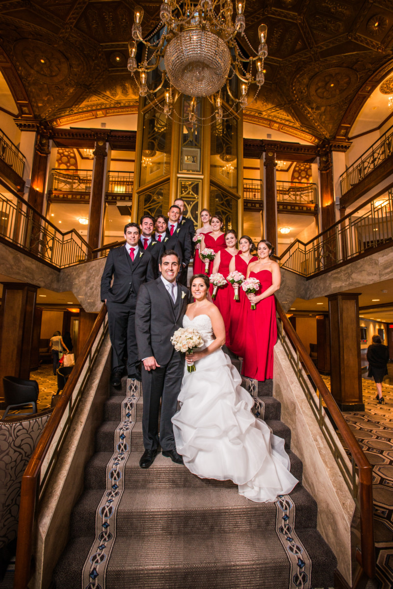 Lauren and Jimmy | Wedding at the Providence Biltmore | Wedding party on the grand staircase