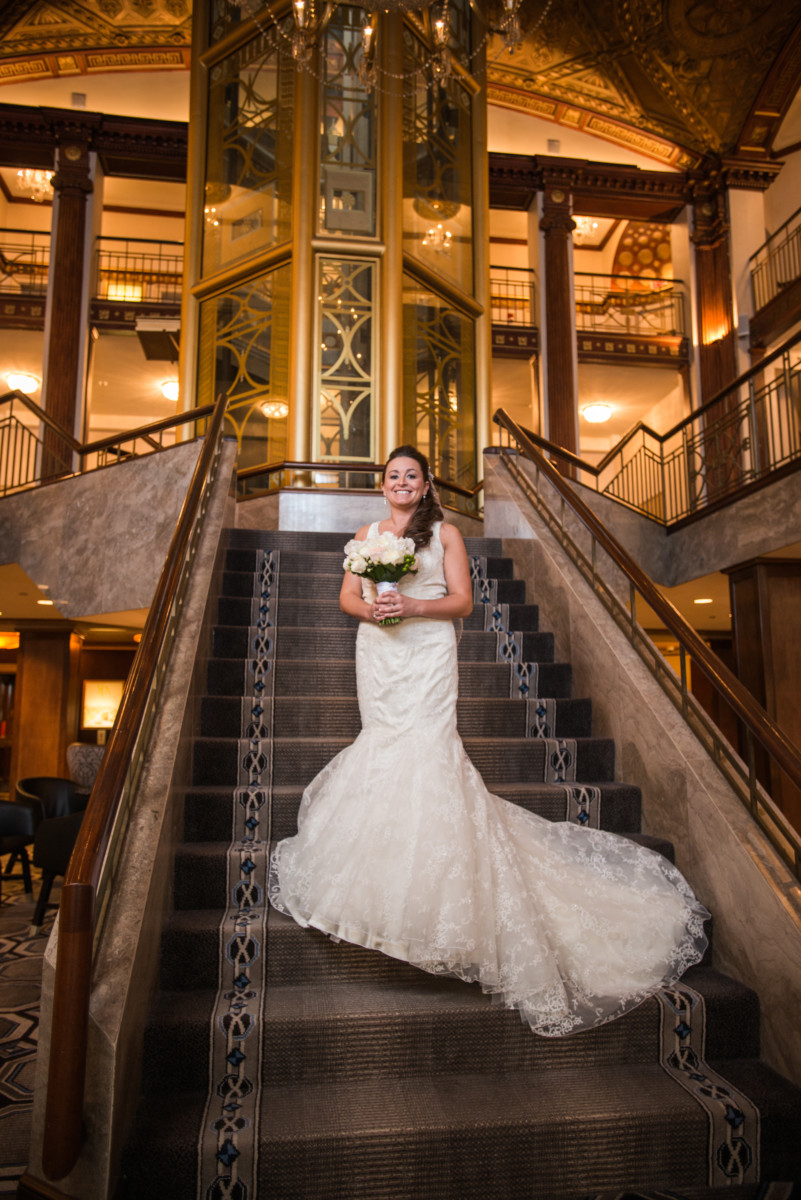 Providence Biltmore Wedding | Bride on the grand staircase