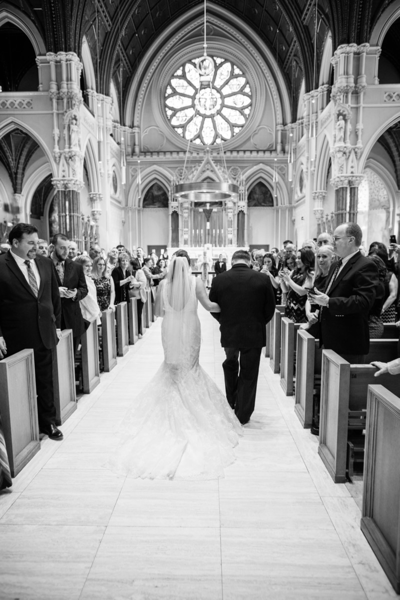 Providence Biltmore Wedding | The Cathedral - Bride and father walking down the aisle
