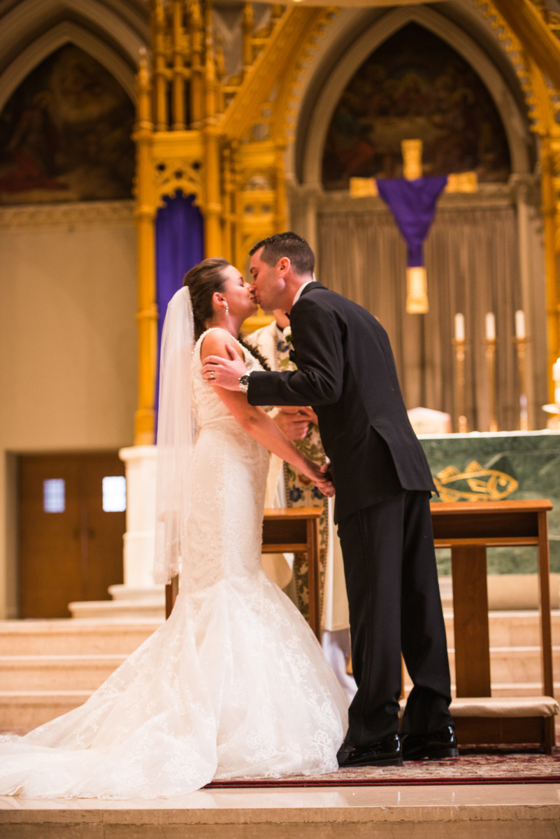 Providence Biltmore Wedding | First Kiss at the Cathedral
