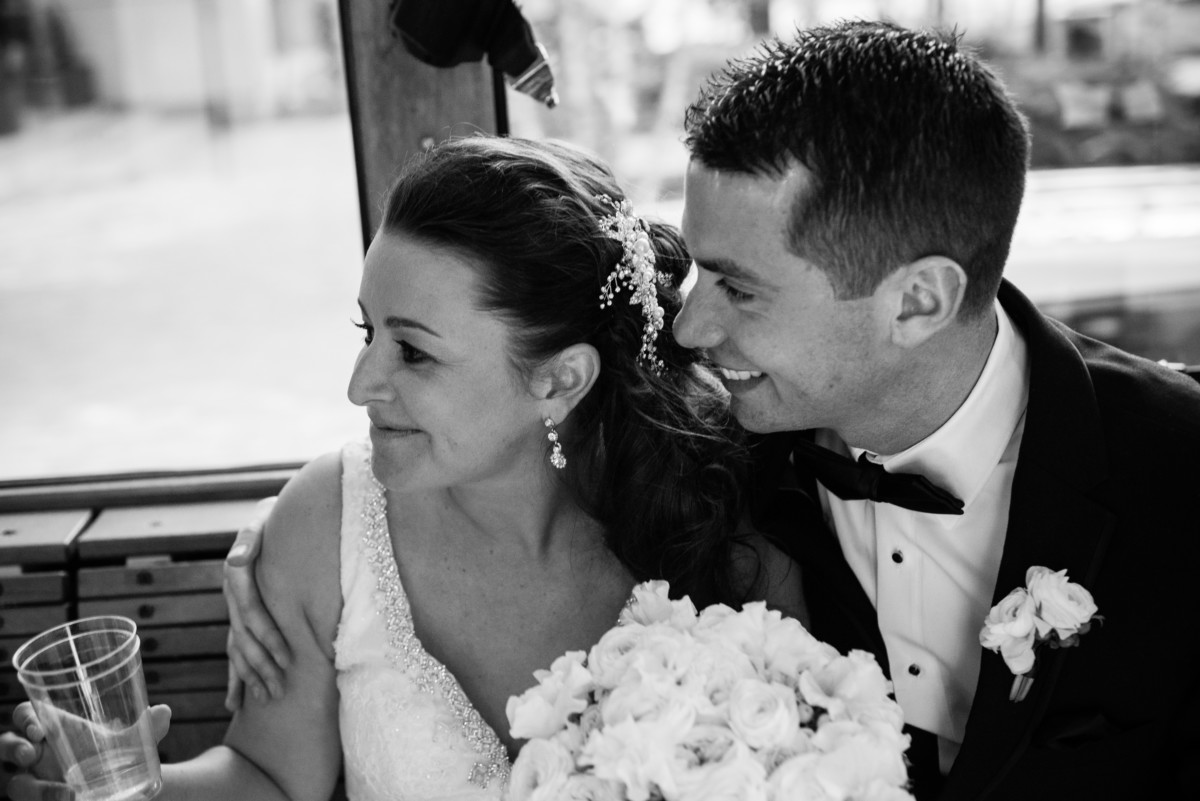 Providence Biltmore Wedding | Bride and groom on the trolley