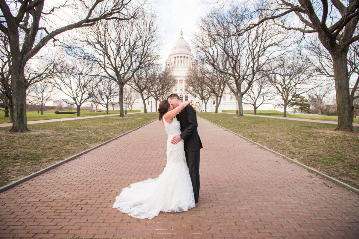 Providence Biltmore Wedding | Bride and groom at the Statehouse