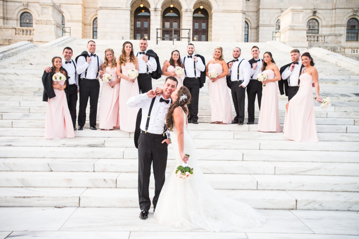 Providence Biltmore Wedding | Wedding Party on the steps of the RI state house