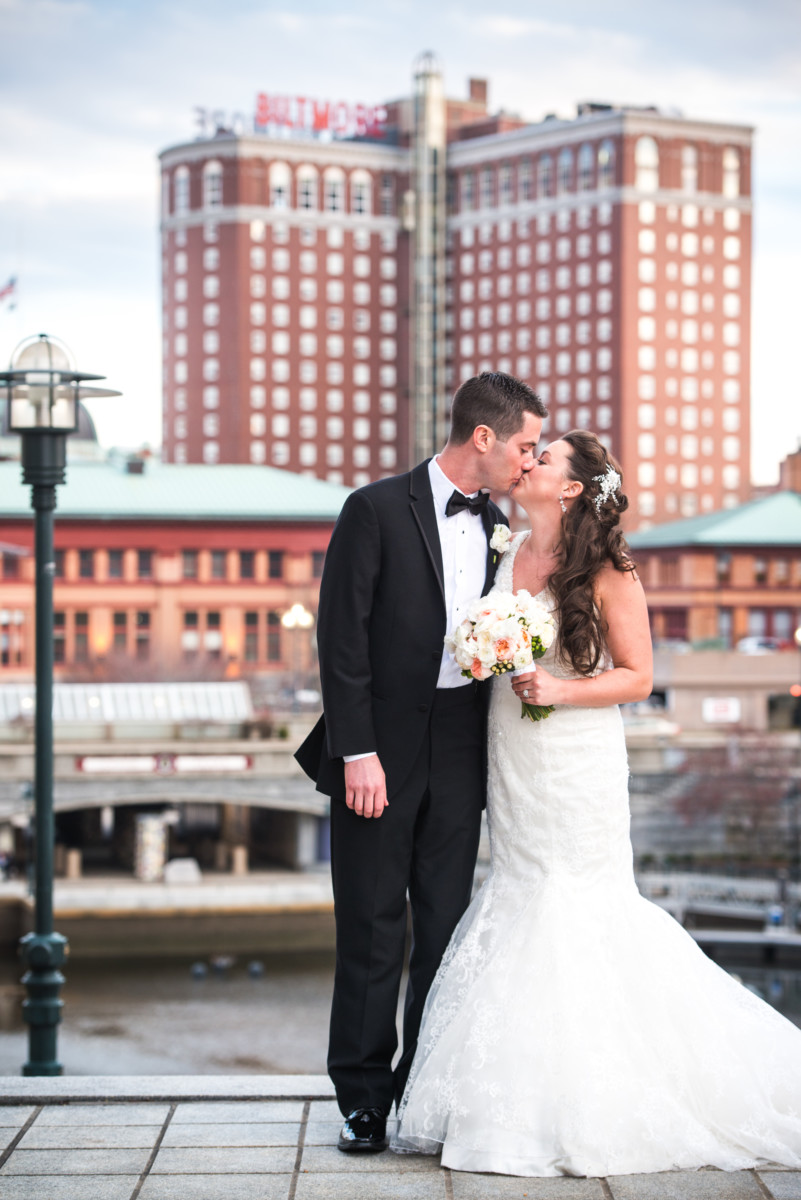 Providence Biltmore Wedding | Bride and groom in front of the Biltmore